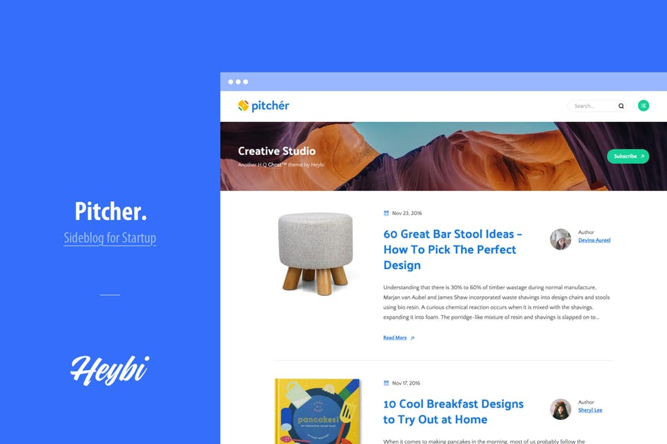 Download Pitcher: Blog Theme for Startup by Heybi