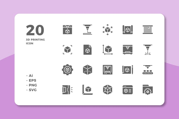 Thumbnail for 20 3D Printing Icons (Solid)