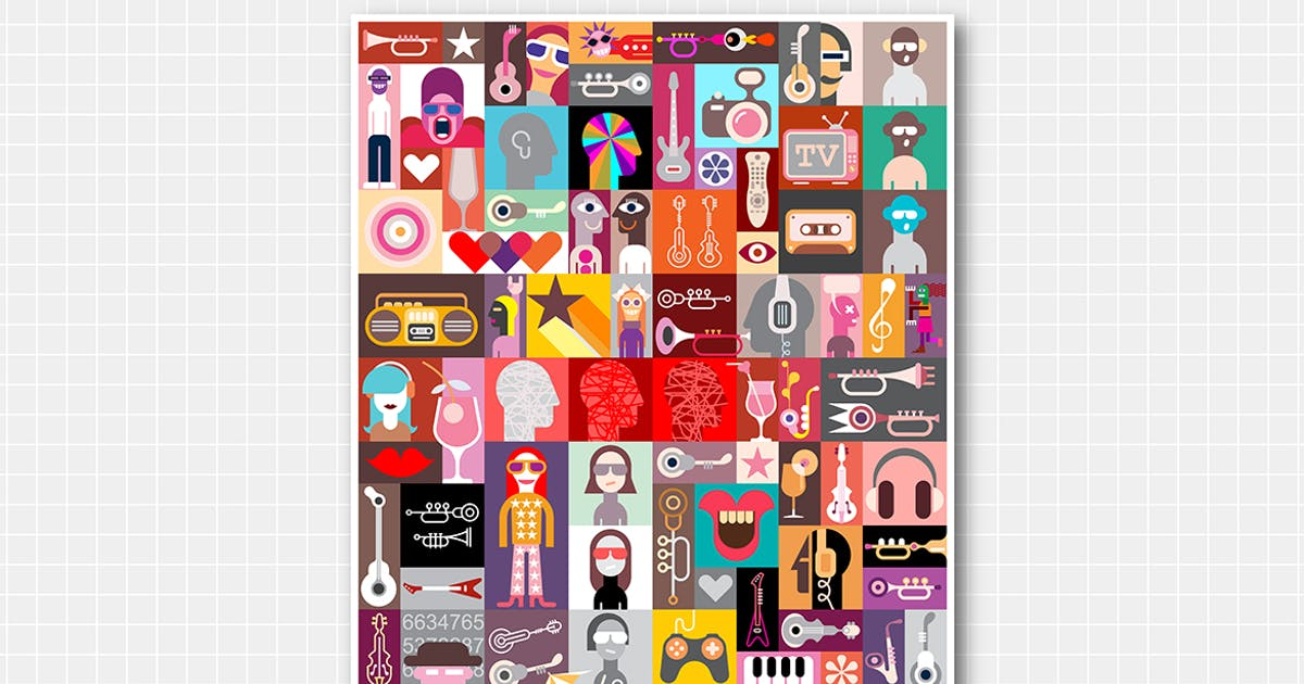 Download Pop-art vector composition, collage design by danjazzia
