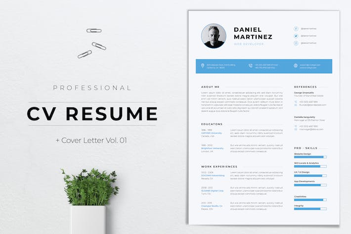 Thumbnail for Professional CV Resume Template Vol. 01