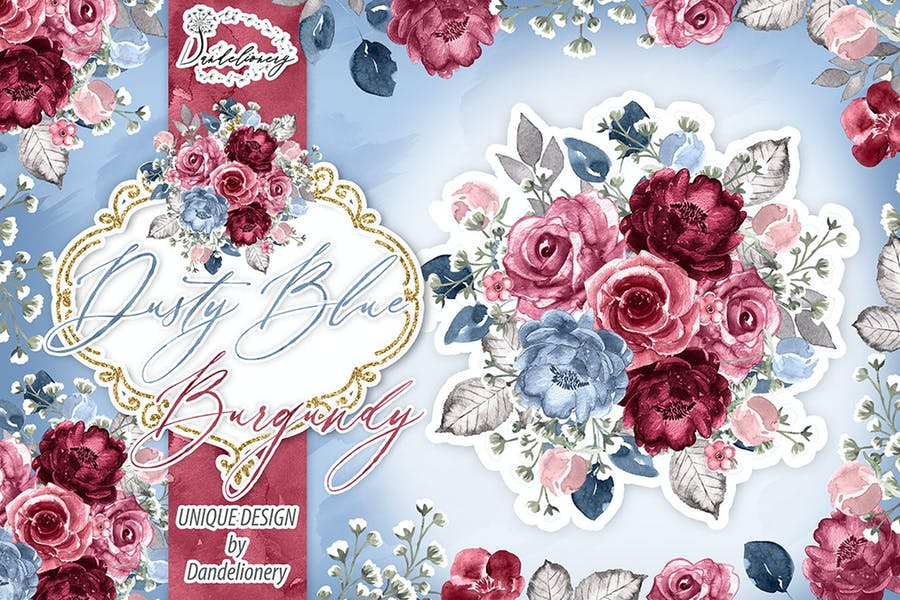 Watercolor Dusty Blue and Burgundy design
