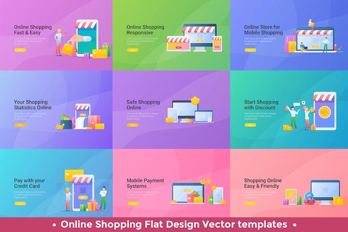 Thumbnail for Modèles de conception Vecteur de magasinage mobile en ligne