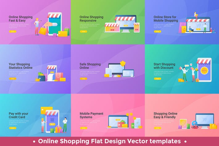 Thumbnail for Mobile Shopping Online Vector Design Templates