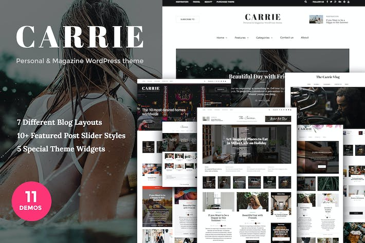 Thumbnail for Carrie - Persönliche & Magazin Wordpress-Thema