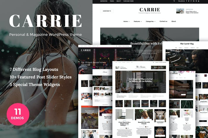 Thumbnail for Carrie - Personal & Magazine WordPress theme