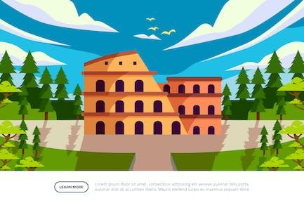 Colosseum - Famous Landmark Illustration