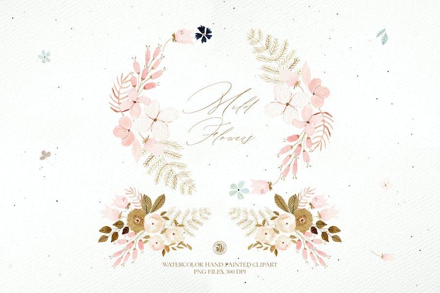 Mild Flowers - watercolor clipart set