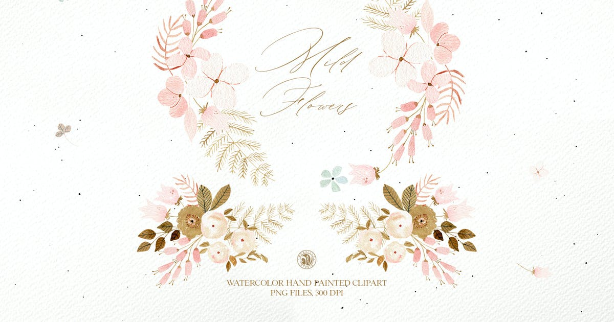 Download Mild Flowers - watercolor clipart set by Webvilla
