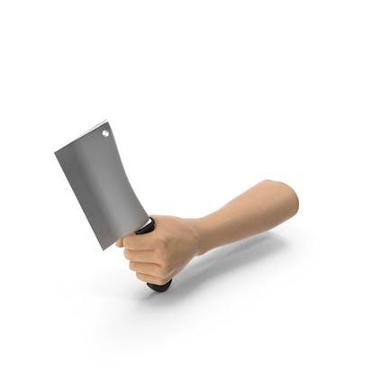 Hand hält einen Hackbeil