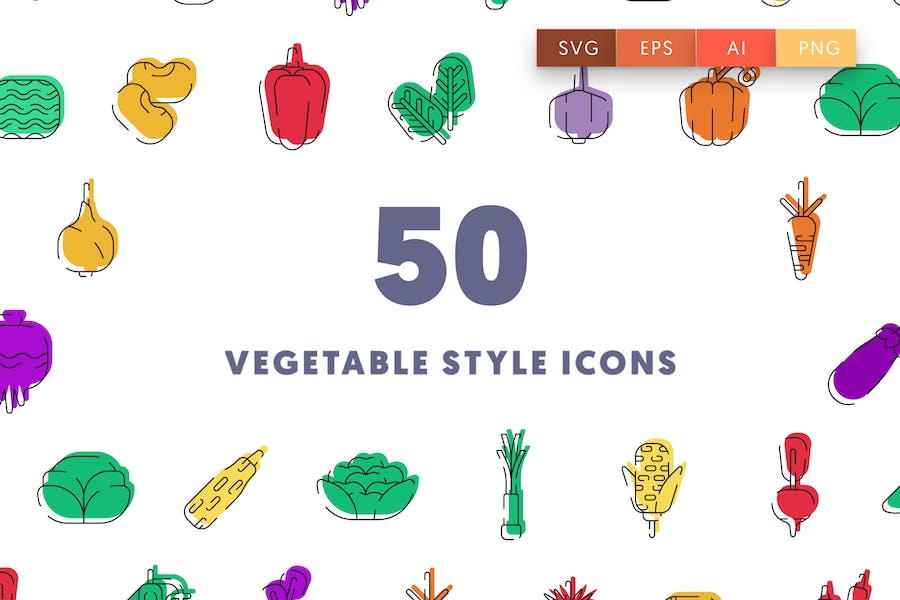 50 Vegetable Style Icons