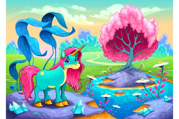 Thumbnail for Unicorn in a Landscape of Dreams