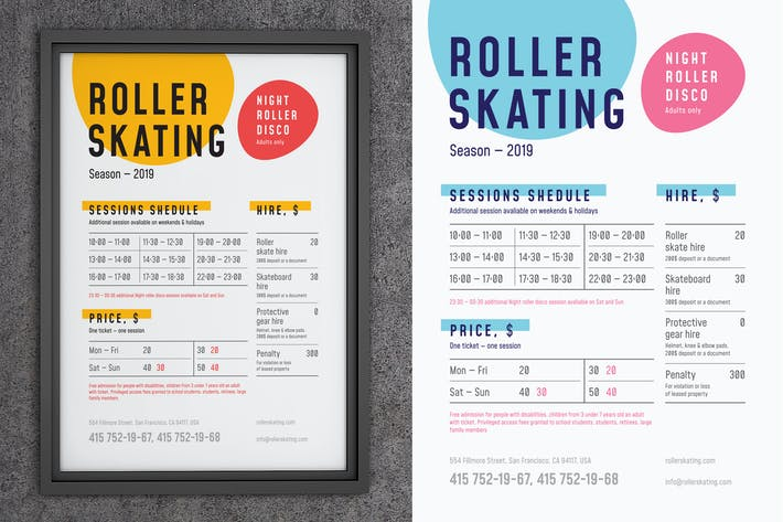 Thumbnail for Roller Skating Schedule Poster Template
