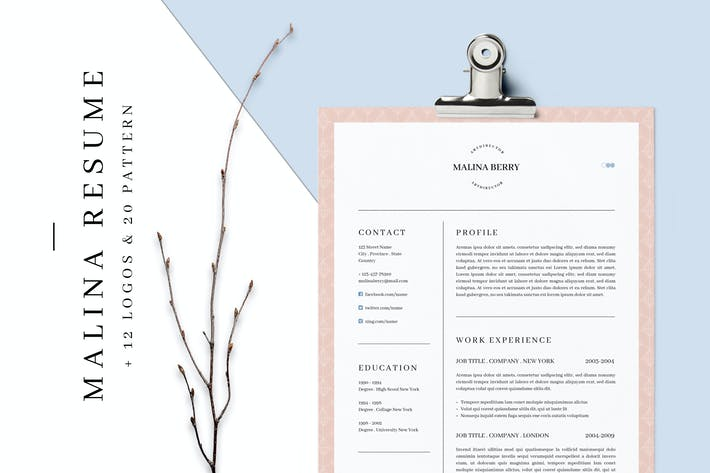Thumbnail for MALINA Resume – 3 Pages + Bonus