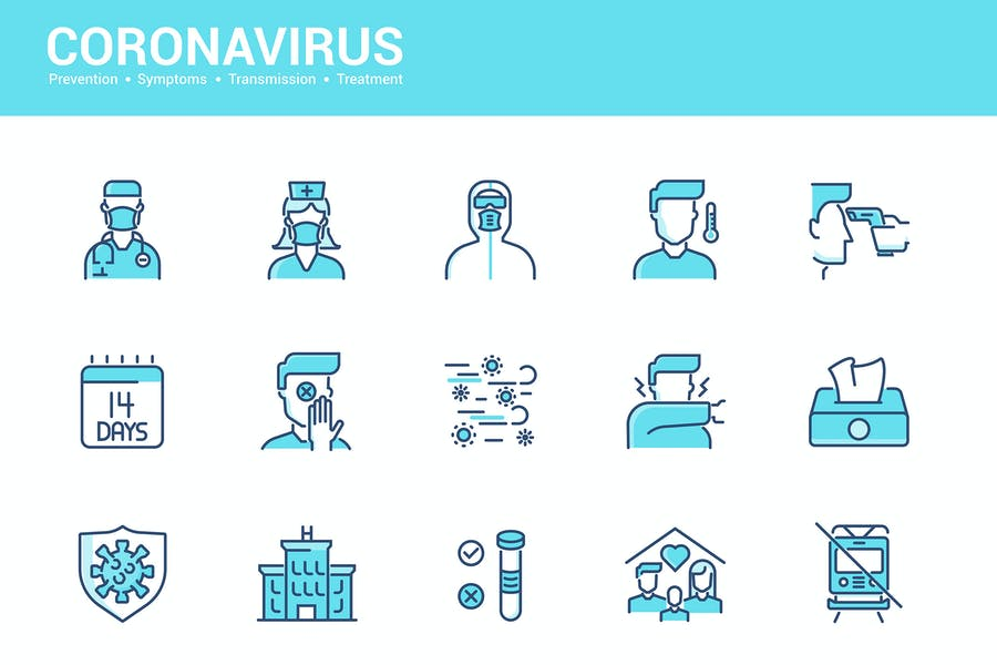 Simple Set of Coronavirus Protection Line icons