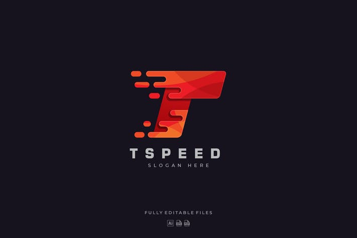 Abstract Letter T Speed Color Logo