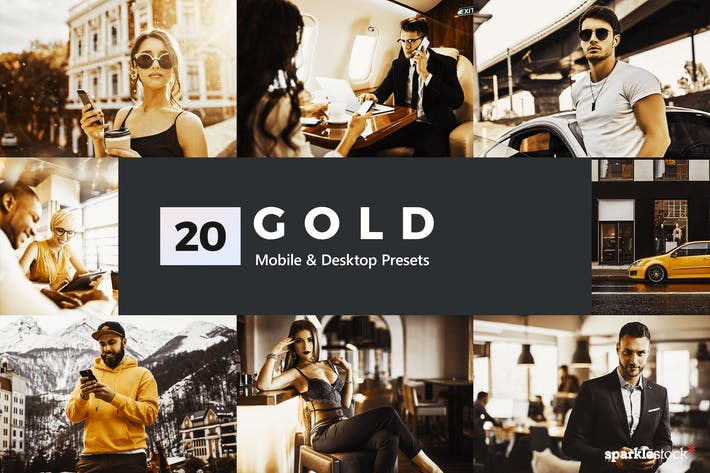Thumbnail for 20 Gold Lightroom Presets and LUTs