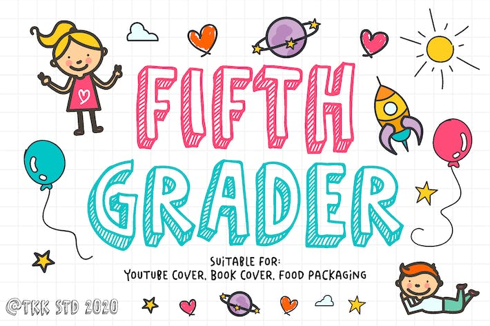 Thumbnail for Fifth Grader - all caps doodle font