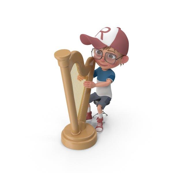 Мультфильм мальчик Гарри играет арфа