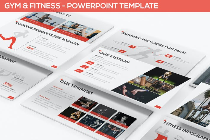 Thumbnail for Fitnessstudio & Fitness - Powerpoint Vorlage