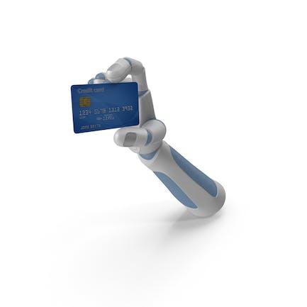 Robohand hält eine Kreditkarte