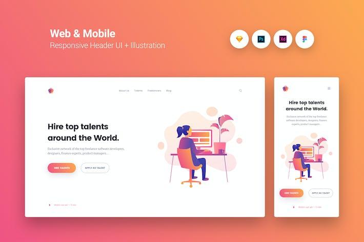 Thumbnail for Web & Mobile Responsive Cover UI + Illustration 1