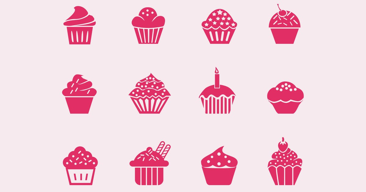 Download 12 Cupcake Icons by creativevip