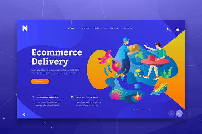 Thumbnail for Ecommerce Delivery Web Header PSD and AI Template