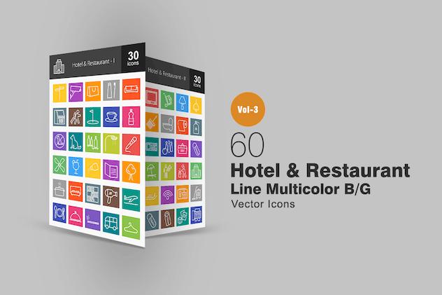 60 Hotel & Restaurant Line Multicolor Icons