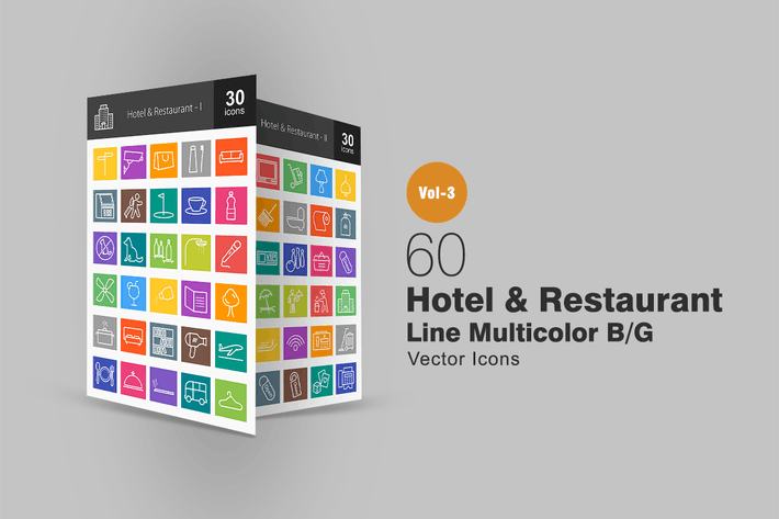 Thumbnail for 60 Hotel & Restaurant Line Multicolor Icons