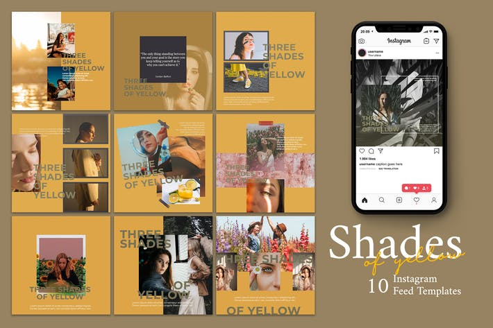 Thumbnail for Shades Of Yellow  - Instagram Post Template