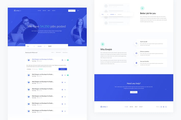 Thumbnail for Emejob — Vacancy Board Landing Page PSD Template
