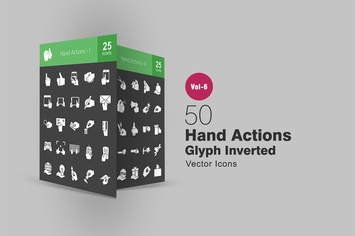 Thumbnail for 50 Hand Actions Glyph Inverted Icons