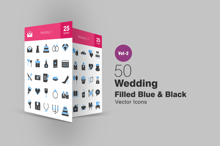 Thumbnail for 50 Wedding Blue & Black Icons