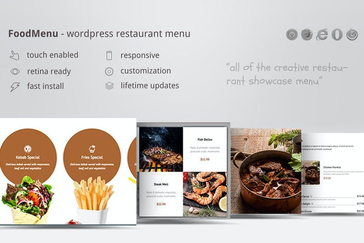 Thumbnail for Creative Restaurant Menu Showcase WooCommerce