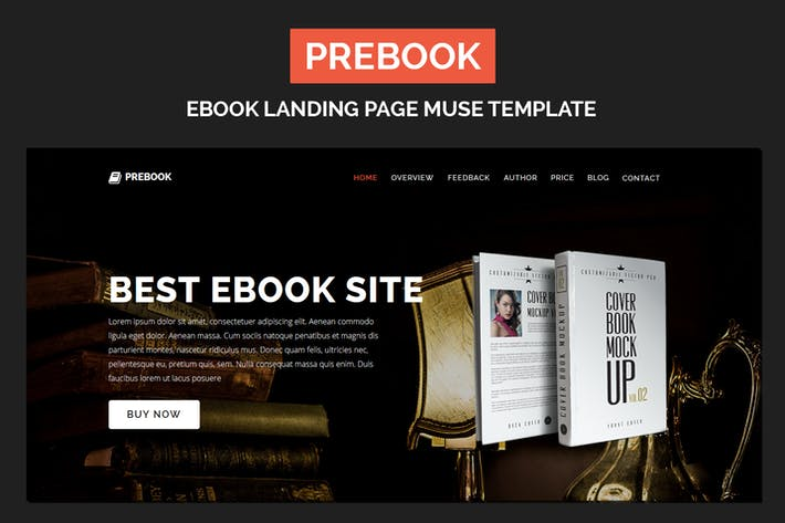 Thumbnail for Prebook - eBook Landing Page Responsive Adobe Muse