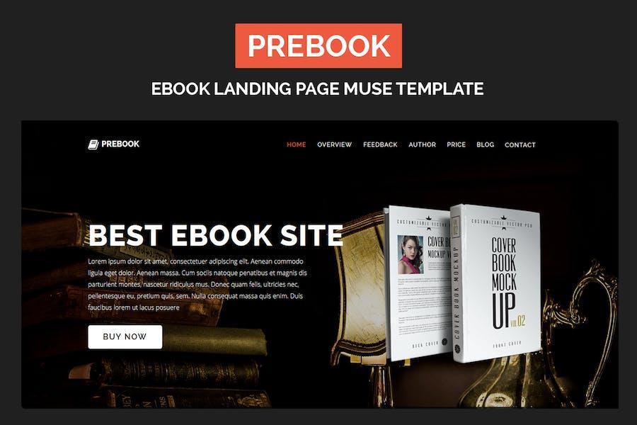 Prebook - Página de inicio del eBook Responsivo Adobe Muse