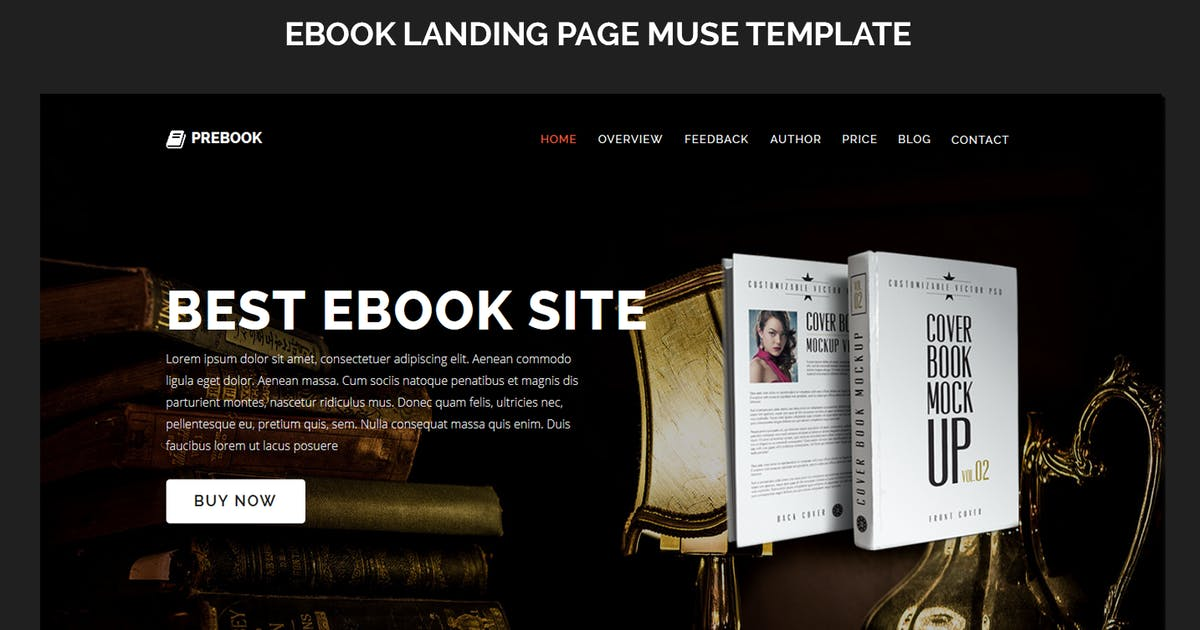Download Prebook - eBook Landing Page Responsive Adobe Muse by Muse-Master