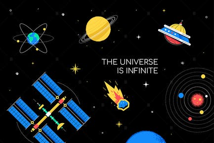 Infinite universe - flat design style illustration