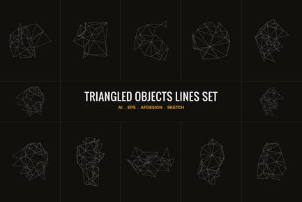 Objetos triangulares líneas conjunto ilustrador