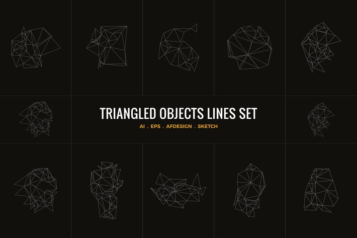 Triangle objects lines set illustrator