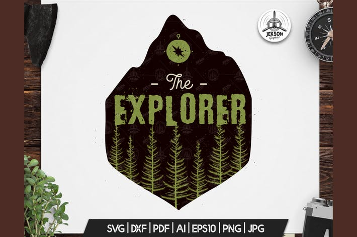 Thumbnail for Retro Explorer Badge / Vintage Travel Logo Patch