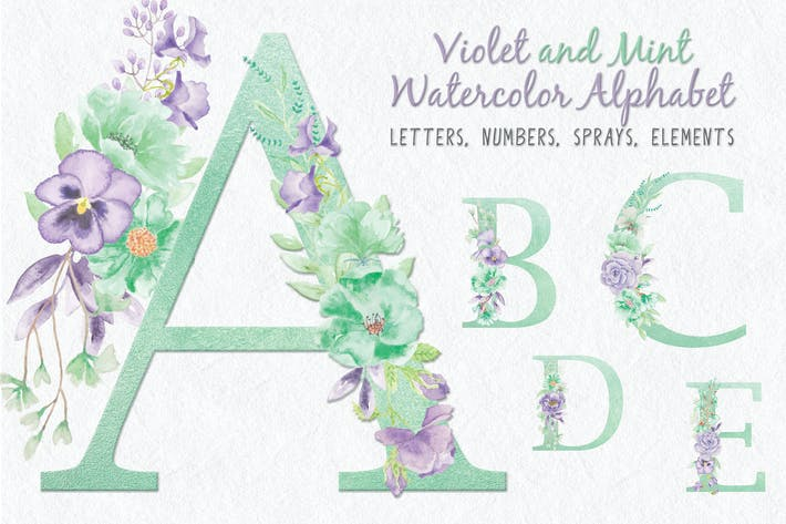 Thumbnail for Violet and Mint Floral Alphabet