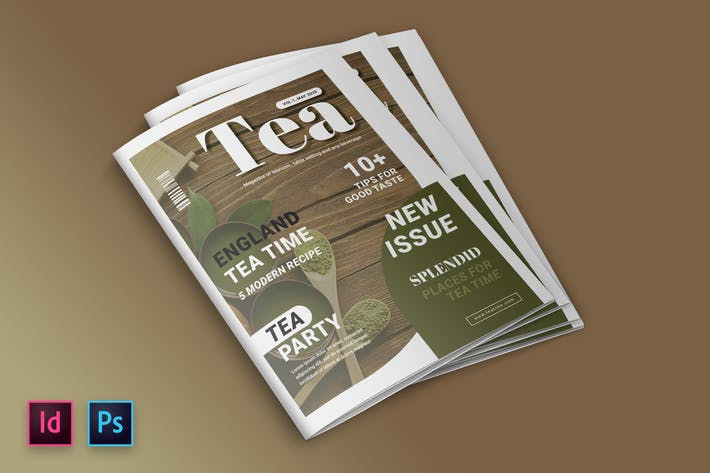 Thumbnail for Tea and Dessert Magazine Cover Indesign Template