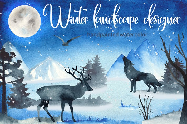 Thumbnail for Aquarell Winterlandschaft Designer