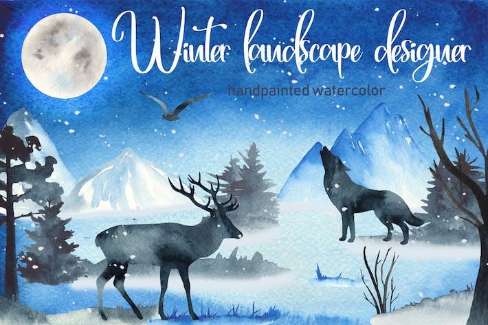 Thumbnail for Watercolor Winter landscape designer