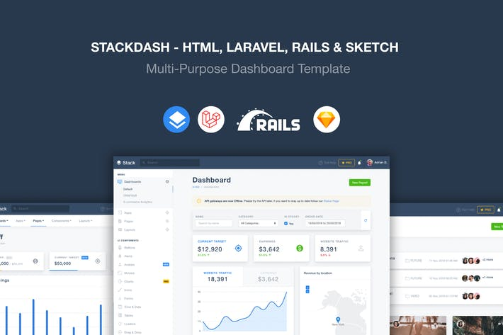 Thumbnail for Stack - Laravel, HTML & Rails Template