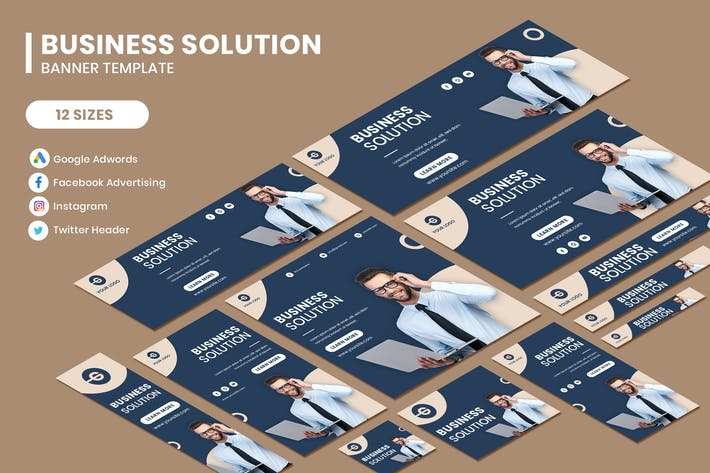 Thumbnail for Business Solution Google Adwords Banner Template