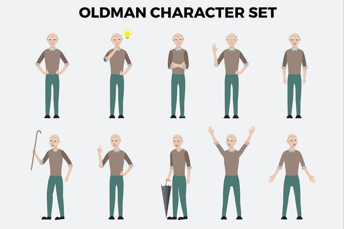 Oldman Character Set – Illustrations