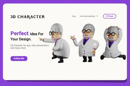 3D Professor Cartoon with various expression