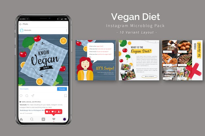Thumbnail for Vegane Ernährung - Instagram Microblog Pack